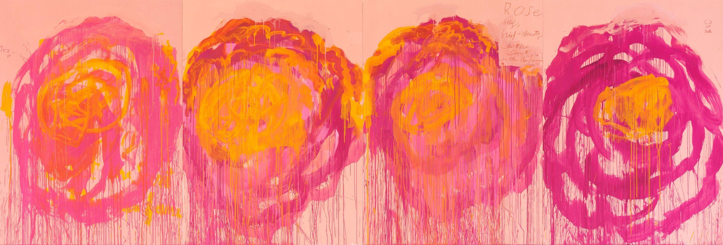 Cy Twombly, Untitled (Roses), 2008. Udo und Anette Brandhorst Sammlung. © Cy Twombly Foundation. Foto: Nicole Wilhelms, Museum Brandhorst, Bayerische Staatsgemäldesammlungen, München